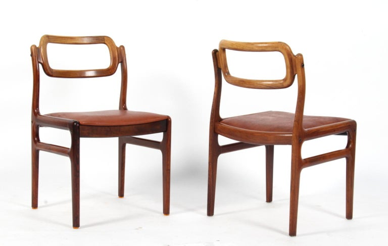 Mid-20th Century 1960s Johannes Andersen Five Dining Chairs for Uldum Møbelfabrik, Rosewood For Sale