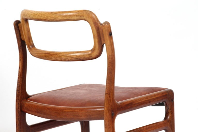 Leather 1960s Johannes Andersen Five Dining Chairs for Uldum Møbelfabrik, Rosewood For Sale