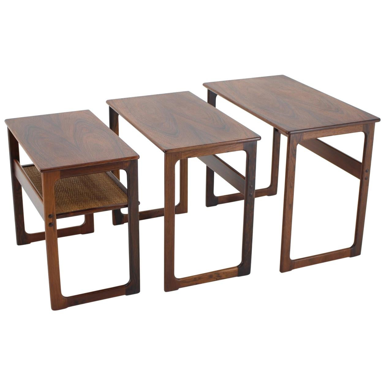1960s Johannes Andersen Palisander Nesting Tables for CFC Christensen of Silkebo