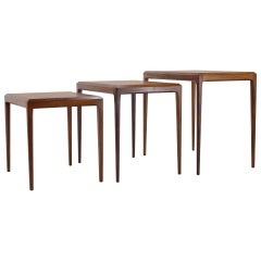 1960s Johannes Andersen Rosewood Nesting Tables for CFC Christensen of Silkeborg
