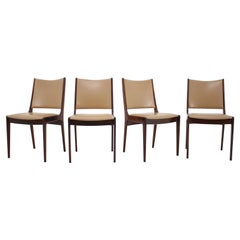 1960s Johannes Andersen Teak Dining Chairs in Leatherette, Set of 4