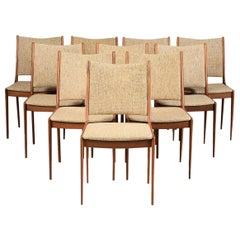Johannes Andersen Set of Ten Refinished Teak Dining Chairs, Inc. Reupholstery