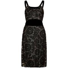 1960s John Cavanagh Black Lace and Velvet Couture Cocktail Dress