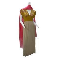 1960s John Hogan Crepe Dress w/ Mustard Floral Embroidered Bodice & Cream Skirt