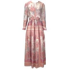 1960s Jon Mandl Silk Multicolored Asian Motif Evening Dress