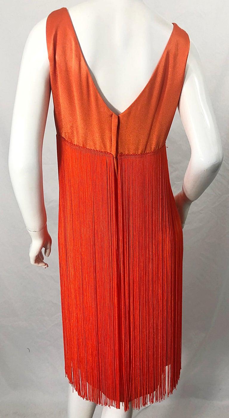1960s Joseph Magnin Neon Orange Fully Fringed Vintage 60s Flapper Dress For Sale 5