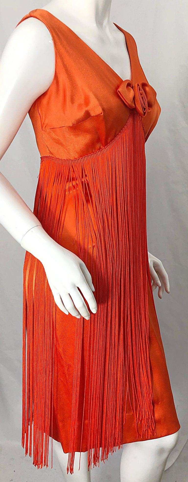 1960s Joseph Magnin Neon Orange Fully Fringed Vintage 60s Flapper Dress For Sale 6