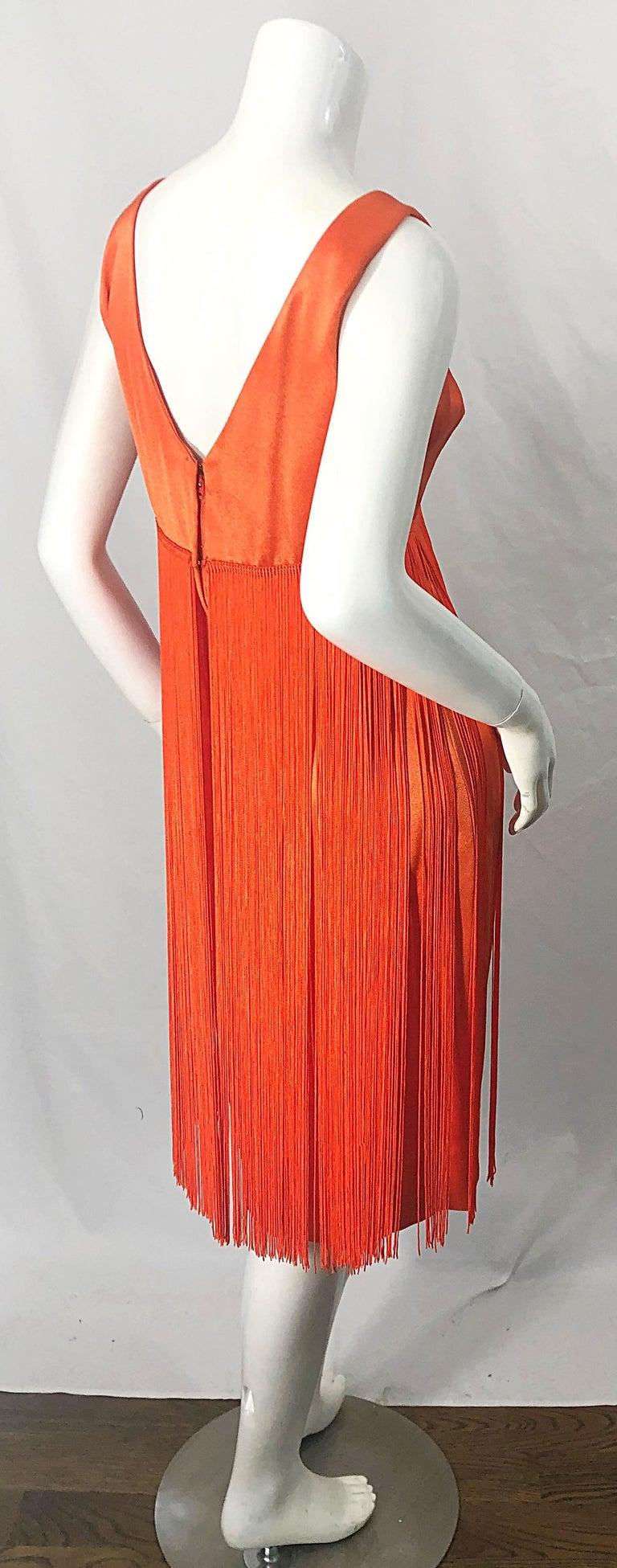 1960s Joseph Magnin Neon Orange Fully Fringed Vintage 60s Flapper Dress For Sale 7