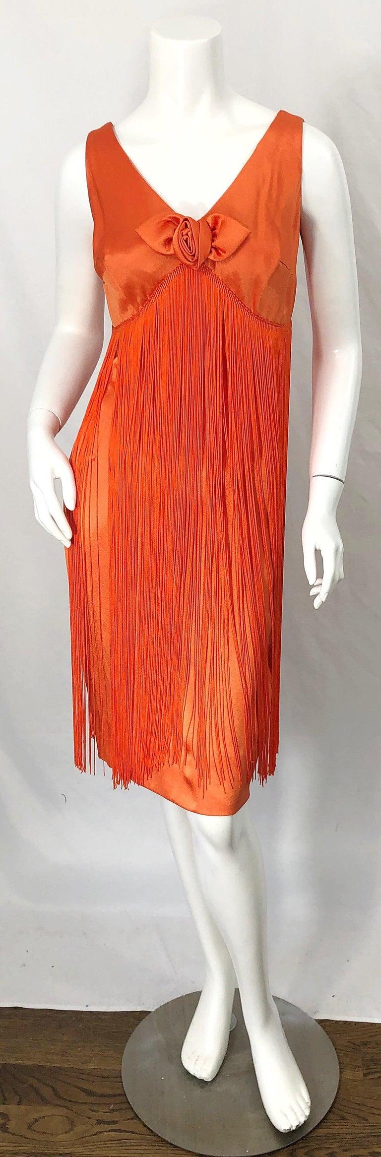 1960s Joseph Magnin Neon Orange Fully Fringed Vintage 60s Flapper Dress For Sale 8