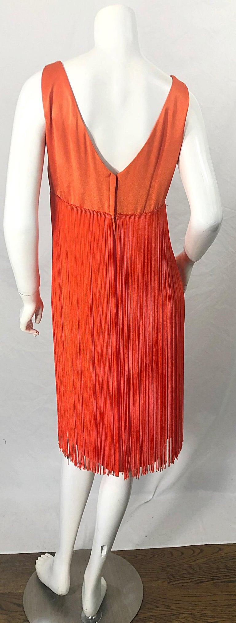 Red 1960s Joseph Magnin Neon Orange Fully Fringed Vintage 60s Flapper Dress For Sale