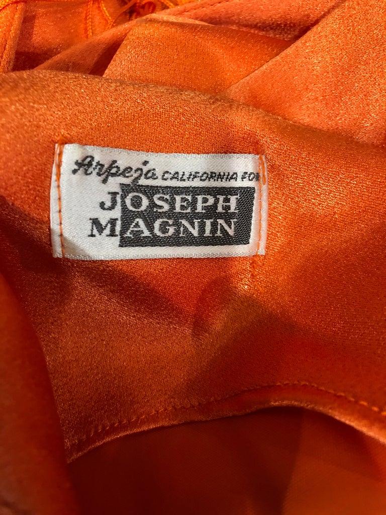Women's 1960s Joseph Magnin Neon Orange Fully Fringed Vintage 60s Flapper Dress For Sale