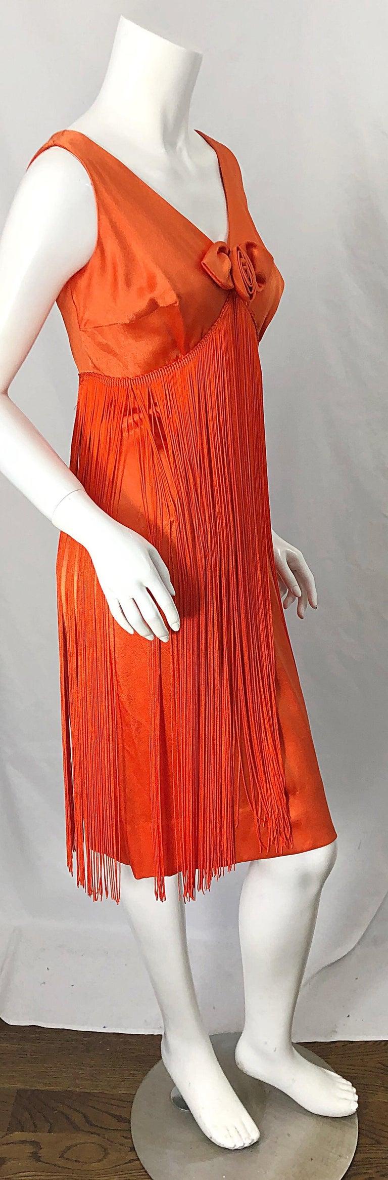 1960s Joseph Magnin Neon Orange Fully Fringed Vintage 60s Flapper Dress For Sale 1