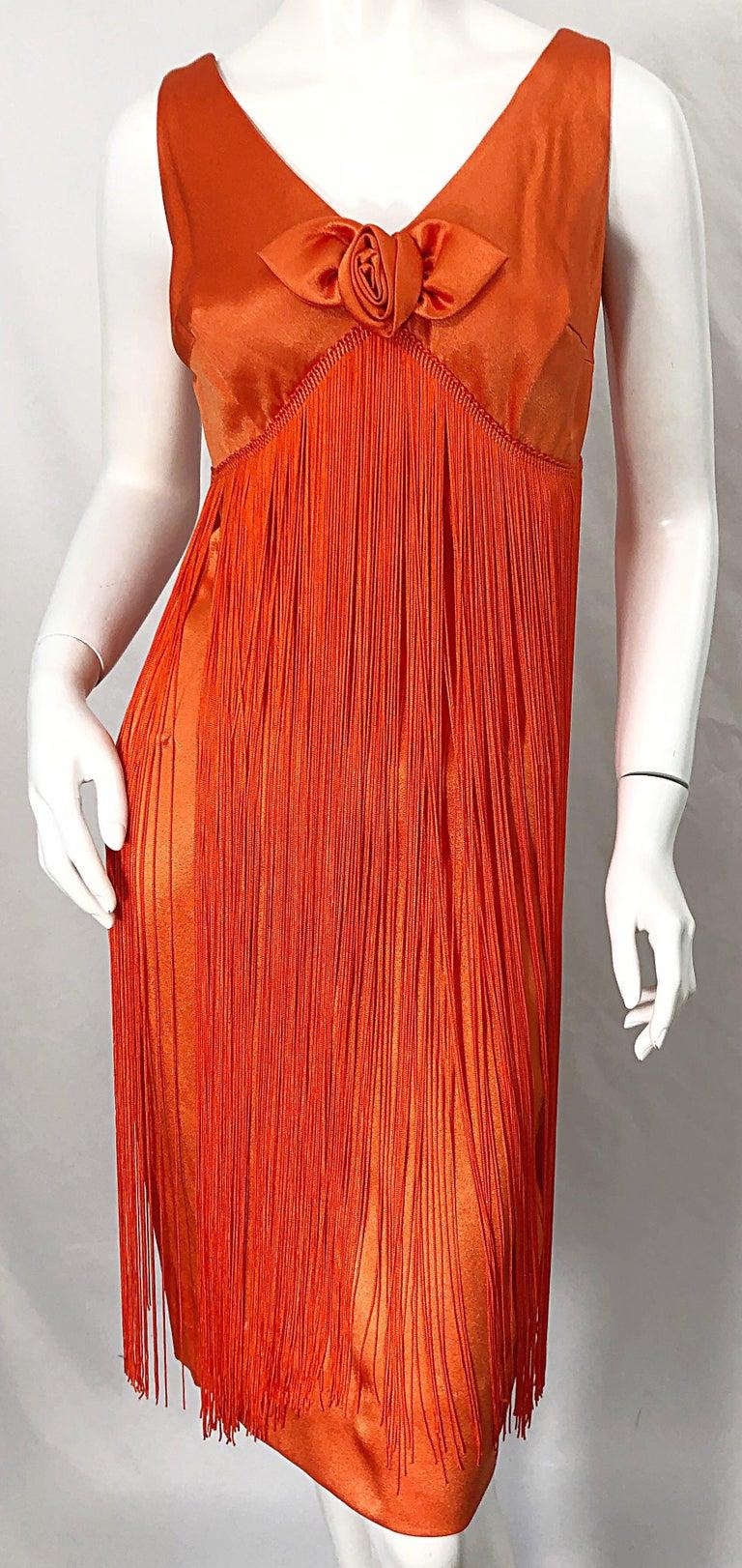 1960s Joseph Magnin Neon Orange Fully Fringed Vintage 60s Flapper Dress For Sale 2