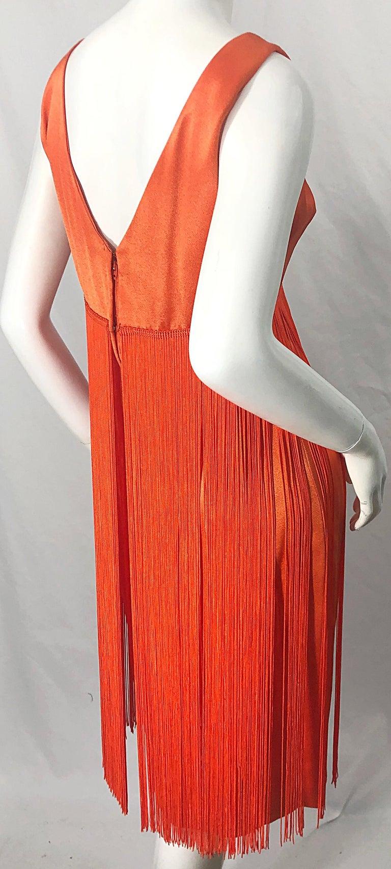1960s Joseph Magnin Neon Orange Fully Fringed Vintage 60s Flapper Dress For Sale 3