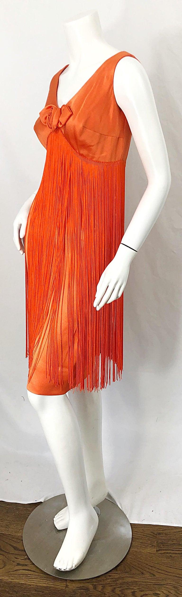 1960s Joseph Magnin Neon Orange Fully Fringed Vintage 60s Flapper Dress For Sale 4