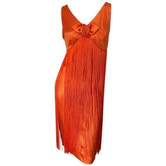 1960s Joseph Magnin Neon Orange Fully Fringed Vintage 60s Flapper Dress