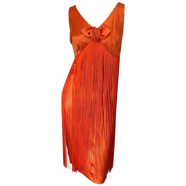 1960s Joseph Magnin Neon Orange Fully Fringed Vintage 60s Flapper Dress For Sale