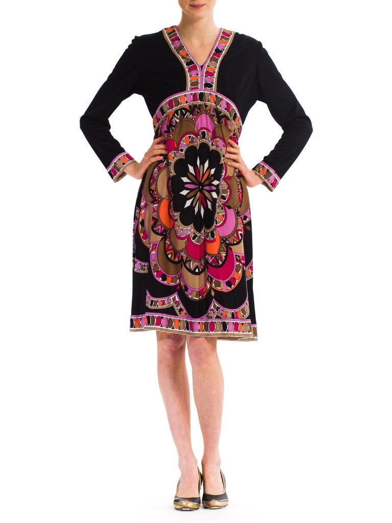 Black 1960S  JOSEPH MAGNIN Polyester Jersey Pucci Style Dress For Sale