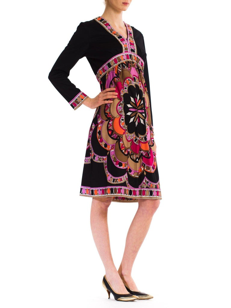 Women's 1960S  JOSEPH MAGNIN Polyester Jersey Pucci Style Dress For Sale