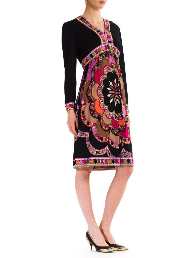 1960S  JOSEPH MAGNIN Polyester Jersey Pucci Style Dress For Sale 1