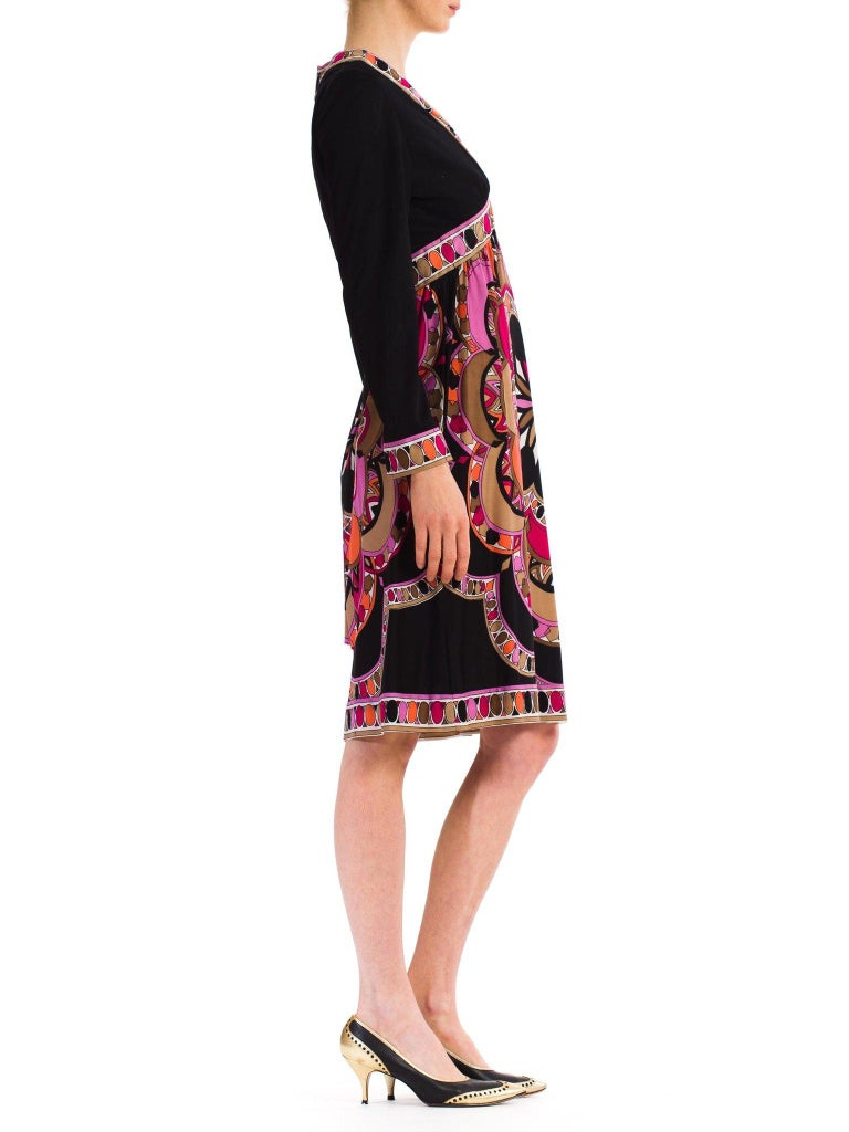 1960S  JOSEPH MAGNIN Polyester Jersey Pucci Style Dress For Sale 2