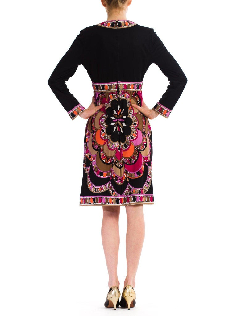 1960S  JOSEPH MAGNIN Polyester Jersey Pucci Style Dress For Sale 3