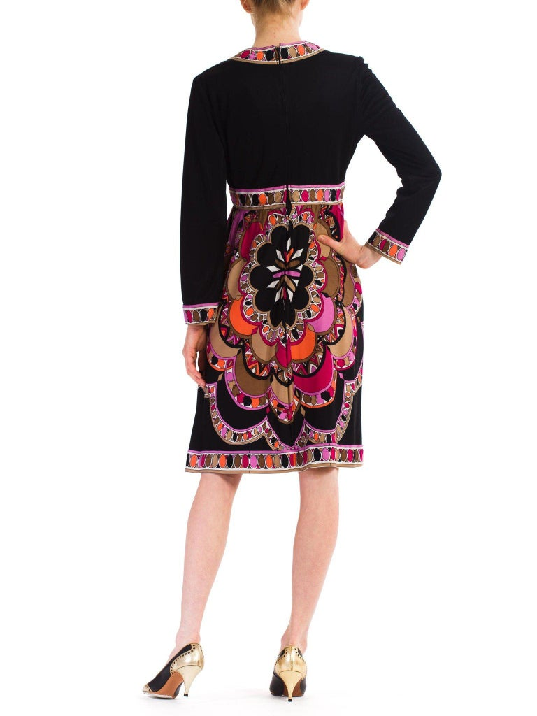 1960S  JOSEPH MAGNIN Polyester Jersey Pucci Style Dress For Sale 4