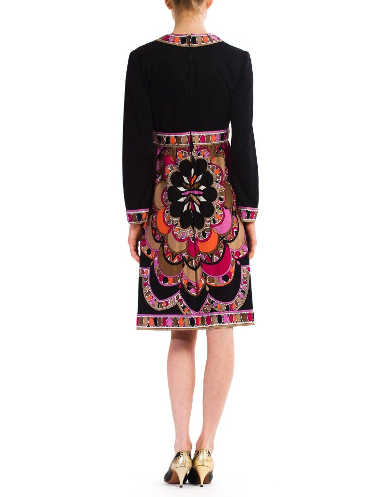 1960S  JOSEPH MAGNIN Polyester Jersey Pucci Style Dress For Sale 5