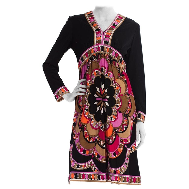 1960S  JOSEPH MAGNIN Polyester Jersey Pucci Style Dress For Sale
