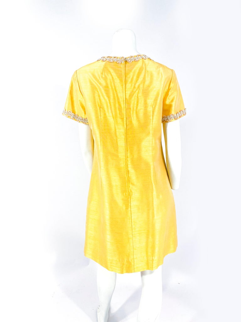 1960s Joseph Magnin Yellow-Gold A-line Dress For Sale 1