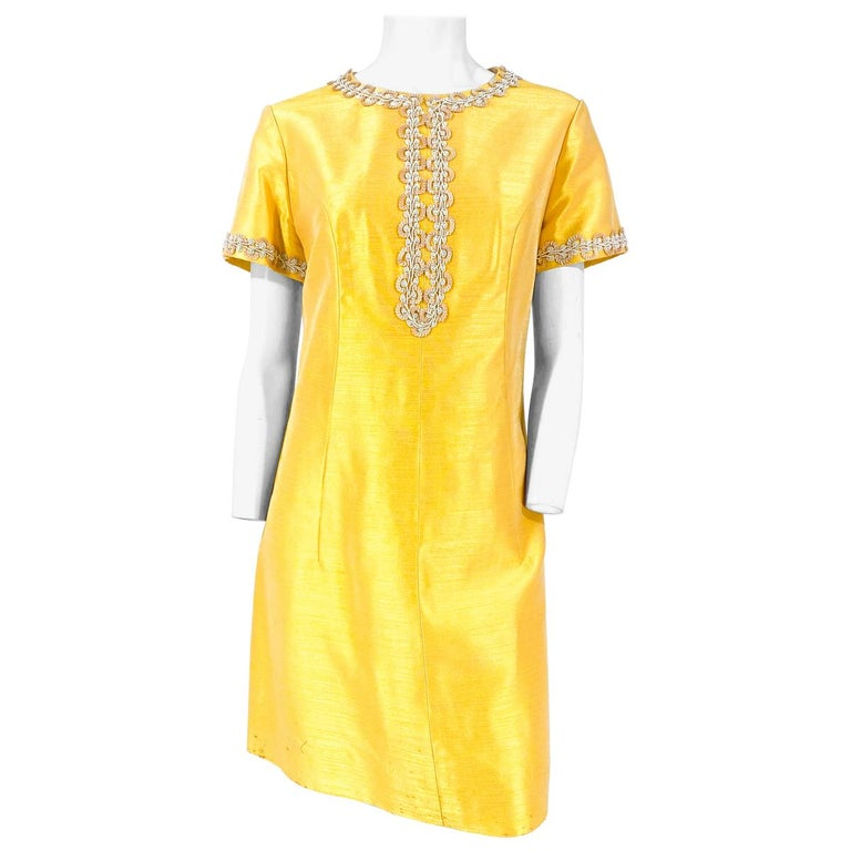 1960s Joseph Magnin Yellow-Gold A-line Dress For Sale