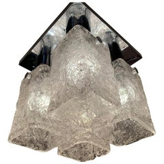 1960s J.T Kalmar Austrian Flush Mount Ceiling Light with Four Frosted Shades
