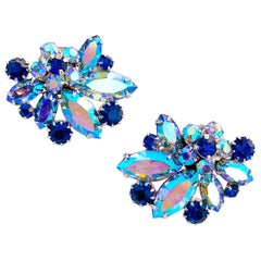 1960s Juliana-Style Blue AB Crystal Cluster Climber Cocktail Earrings By Vendome