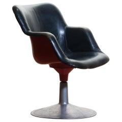 """1960s """"Junior"""" Swivel Chair in Metal or Black Leather or Red by Yrjö Kukkapuro"""