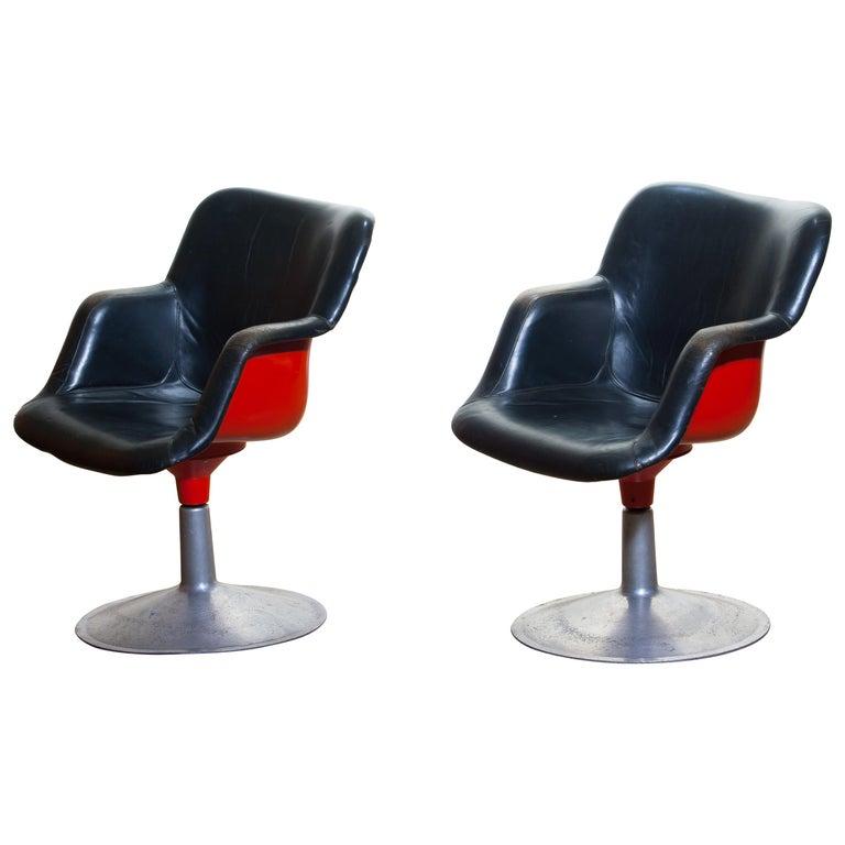 "1960s ""Junior"" Swivel Chairs in Metal or Black Leather or Red by Yrjö Kukkapuro For Sale"