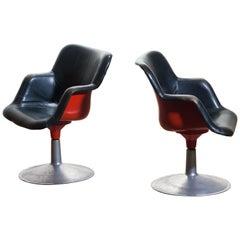 """1960s """"Junior"""" Swivel Chairs in Metal or Black Leather or Red by Yrjö Kukkapuro"""