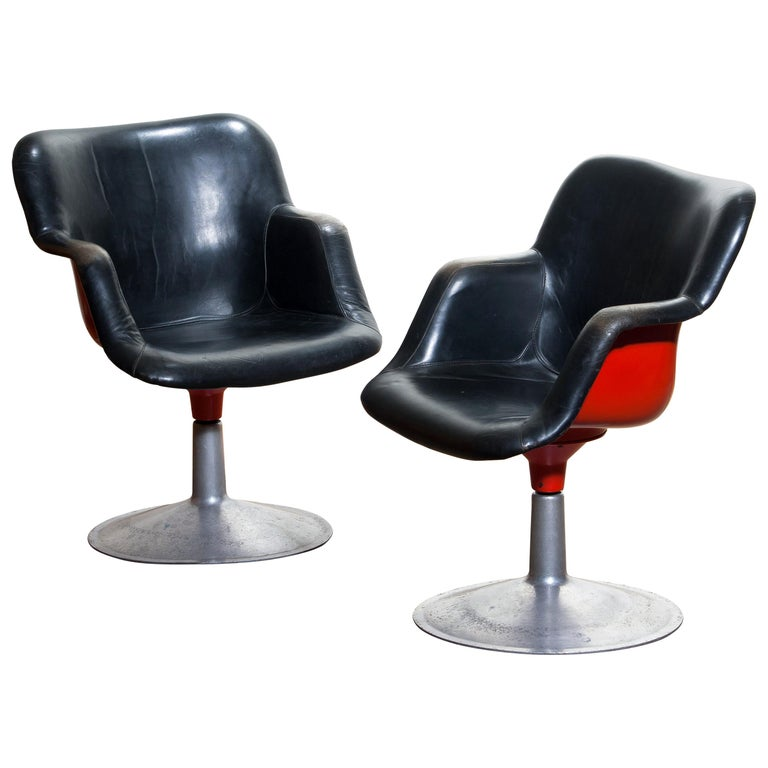 Marvelous 1960S Junior Swivel Chairs In Metal Or Black Leather Or Beatyapartments Chair Design Images Beatyapartmentscom