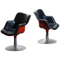 "1960s ""Junior"" Swivel Chairs Red Black Metal Black Leather by Yrjö Kukkapuro"