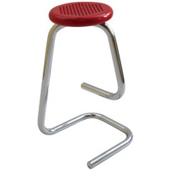 1960s K700 Red Chrome Paperclip Stool Hugh Hamilton and Philip Salmon Kinetics