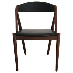 1960s Kai Kristiansen Refinished Dining chairs in Teak and Black Leatherette