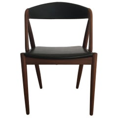 1960s Kai Kristiansen Restored Dining Chairs in Teak and Black Leather