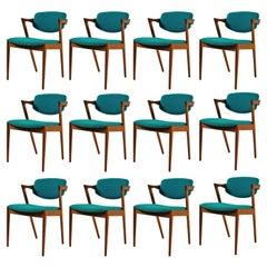 1960s Kai Kristiansen Set of 12 Dining Chairs in Teak, Inc. Reupholstery