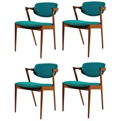 1960s Kai Kristiansen Set of 4 Danish Dining Chairs in Teak Inc Reupholstry