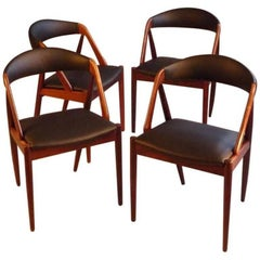 1960s Kai Kristiansen Set of Eight Dining Chairs in Rosewood and Leather