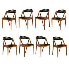 1960s Kai Kristiansen Set of Eight Dining Chairs in Teak Inc. Reupholstery