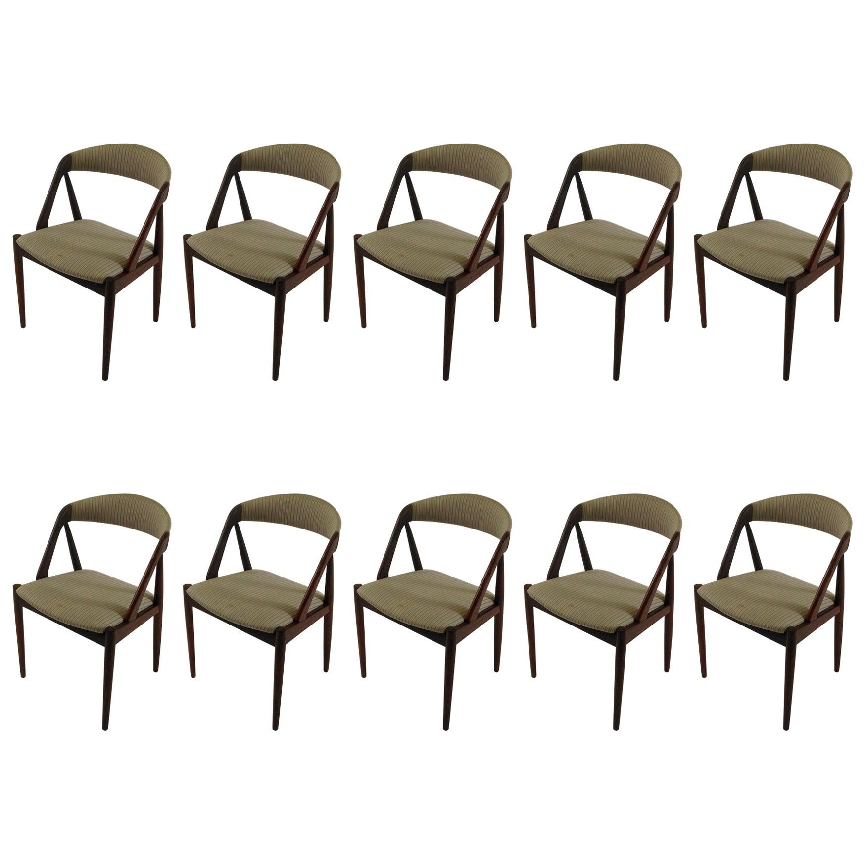 Kai Kristiansen Set of Ten Refinished Teak Dining Chairs, Choice of Upholstery