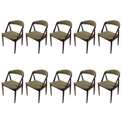 1960s Kai Kristiansen Set of Ten Dining Chairs in Teak, Choice of Upholstery