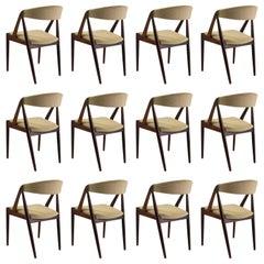Kai Kristiansen Set of Twelve Teak Dining Chairs, Choice of Upholstery