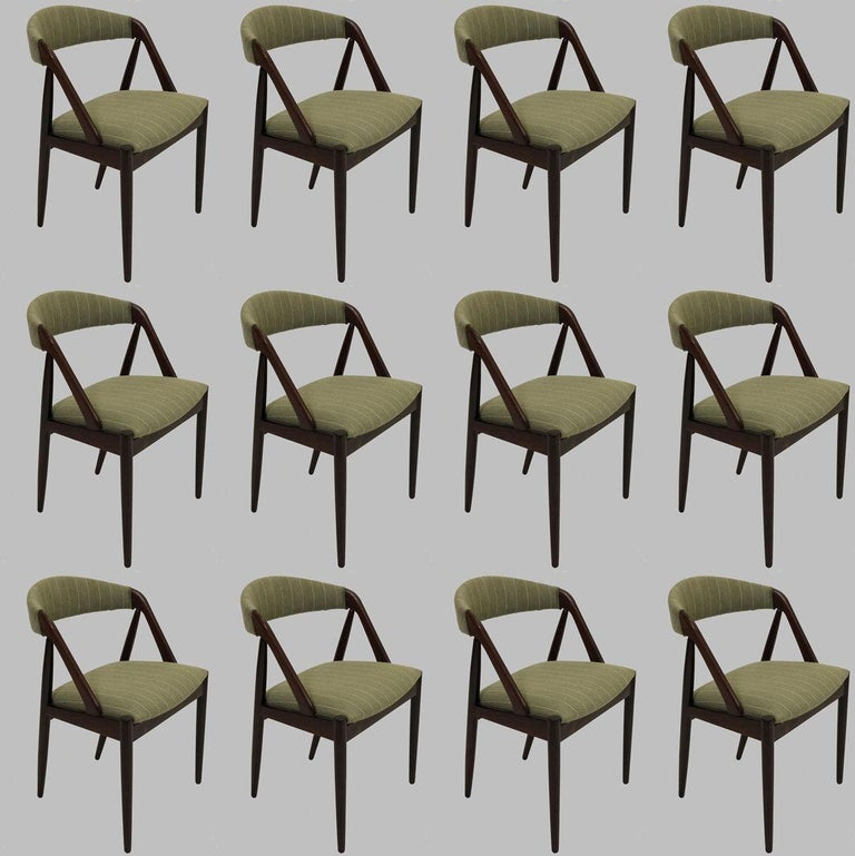 1960s Kai Kristiansen Twelve Rosewood Dining Chairs with Upholstery of Choice In Good Condition For Sale In Knebel, DK