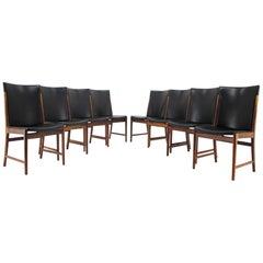 1960s Kai Lyngfelt-Larsen Set of Eight Palisander/Leather Dining Chairs